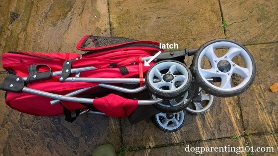 Here is what the doggie stroller looks like when folded